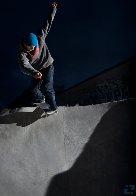 Pär Mag, backside disaster in the coping less round bowl.