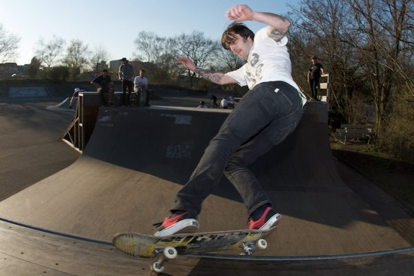 Pil Lik with tech trick of the day: Half Cab feeble.