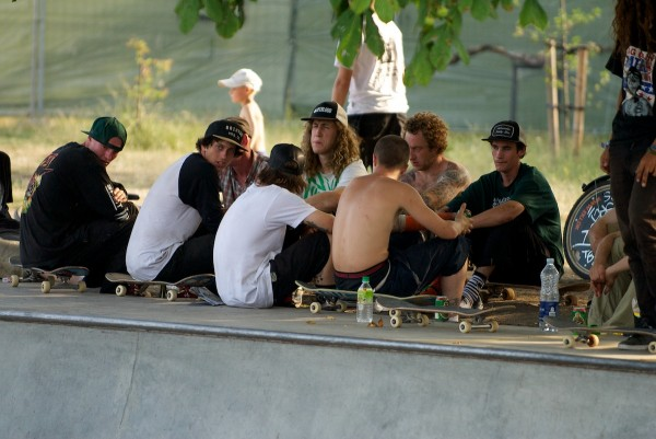 Sometimes skateboarding doesn't involve skateboarding. Brothers from different mothers and different nations in the lurk.