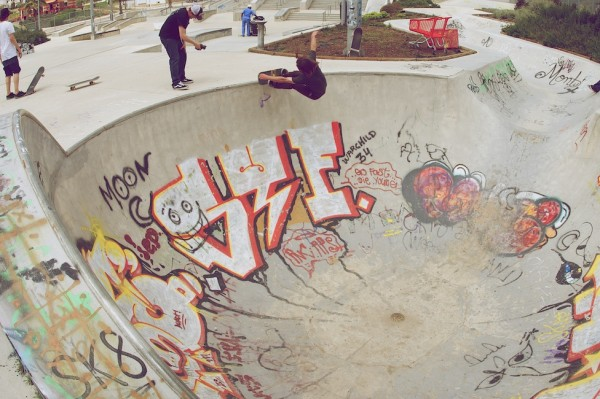 Johnners. Another angle of the frontside grind in the round bowl at the end of the snake run.