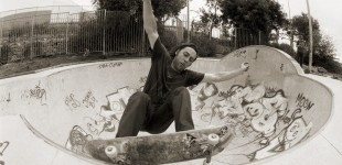 Skate photo of the trip was with my old Nikon F4 film camera. Johnners. Frontside grinding the big round bowl at Park Radical. Photo: J. Hay