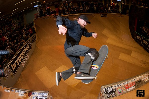 Mike Vallely. No comply over the channel.