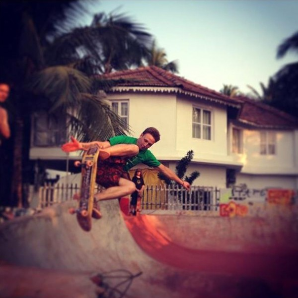 Mathias testing out the new pour. Morjim, Goa.