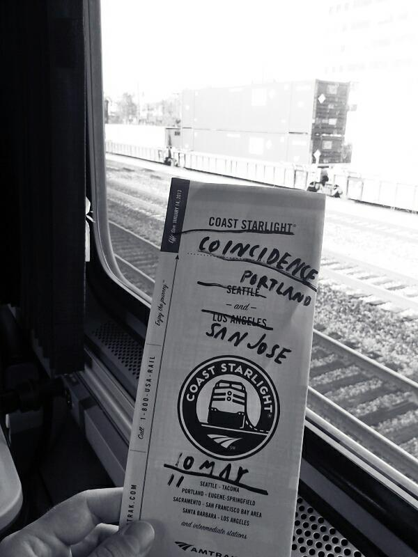 Train from Portland to San Jose.
