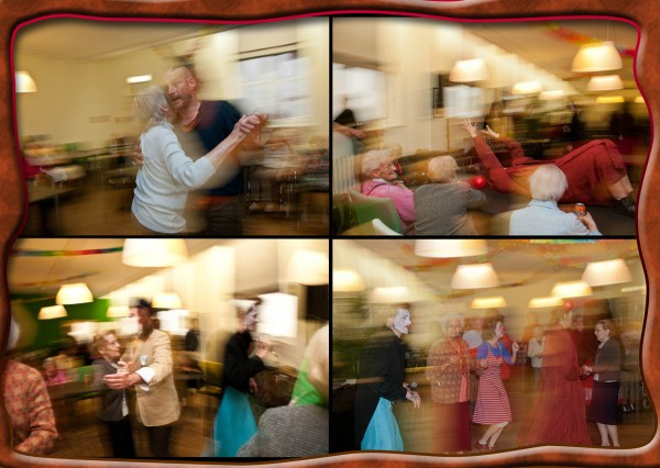 Dancing with the old people in their old people home is part of the Fiesta Des Ursulines. A very social and positive feeling communal event.  Photo: Alexandra Dos Santos