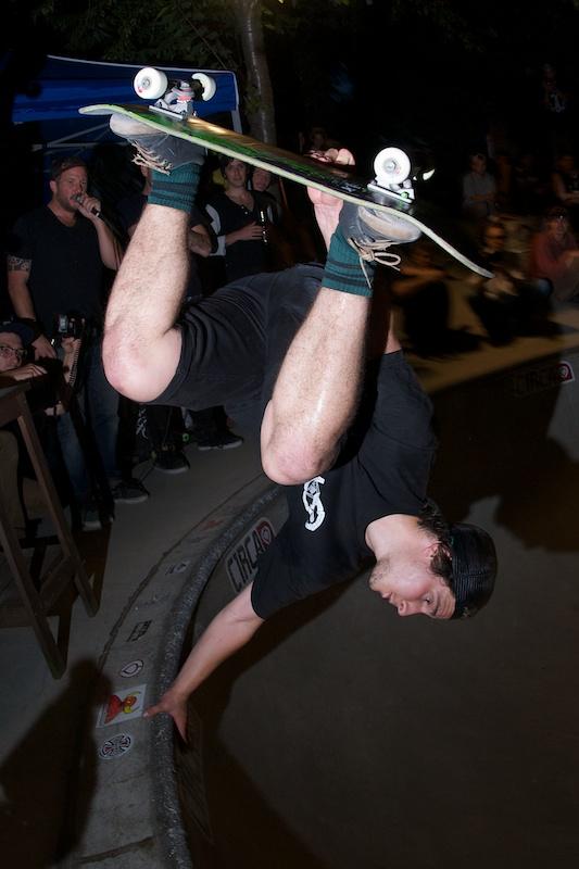 Tim Bijsterveld.  Upside down in the Owl Bowl.  Photo: J. Hay