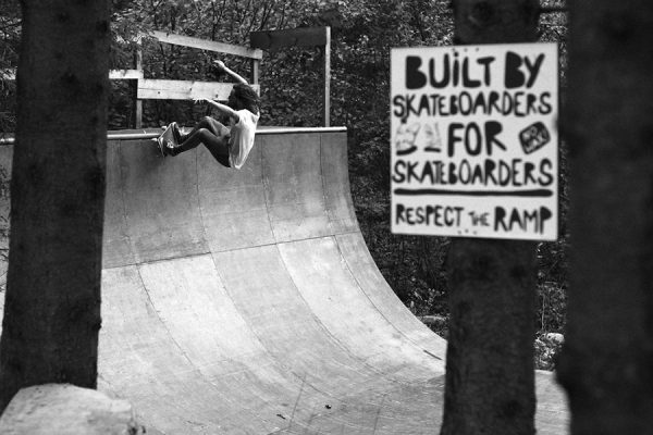 Any questions?  Ferit, frontside grinding the vert ramp at Pumpa.  Photo: Sket Andestroy