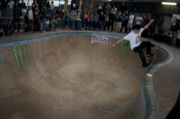 Jürgen Horrwarth. Nosegrind over the hip into the shallow-end.  Photo: Hay