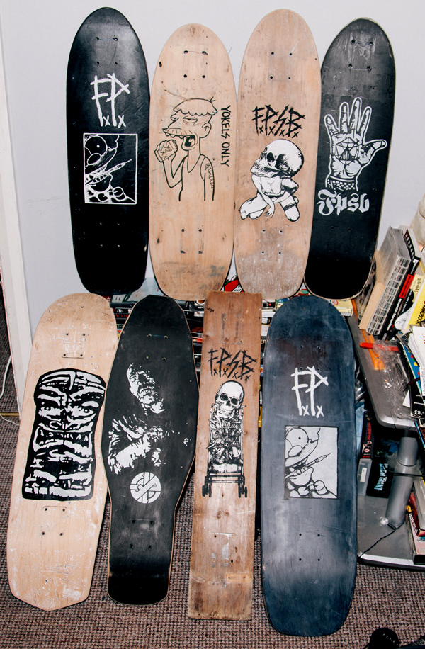 Stenciled, screened, hand drawn and hand cut. Face Plant Skateboards (F.P.S.B)