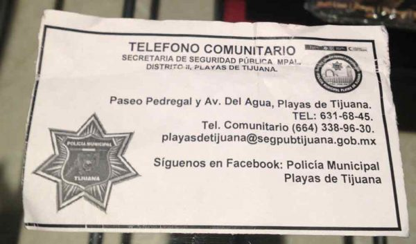 Federales business card also used to pick up chicks.