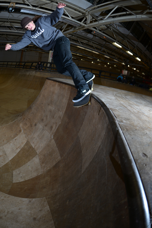 Nick Bax. Area 51 local. Up the hip into a back smith.  Photo: J. Hay