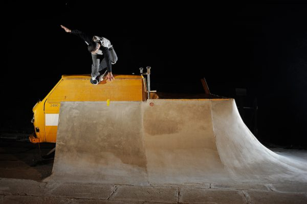 Julien Benoliel.  Backside nosepick.  Photo: Alan Maag.