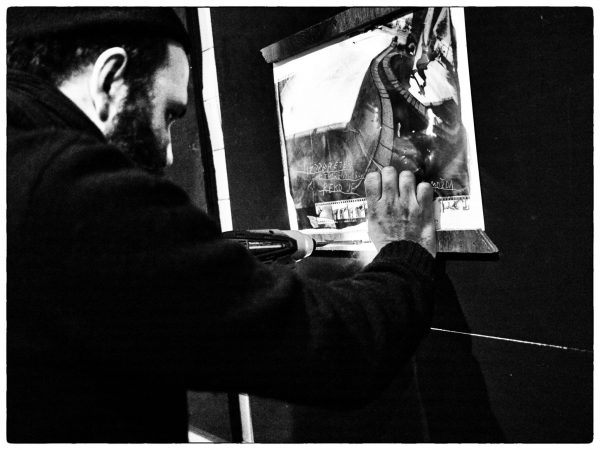 Sergej Vutuc setting up his show.  Photo: Yutaka Takanashi.