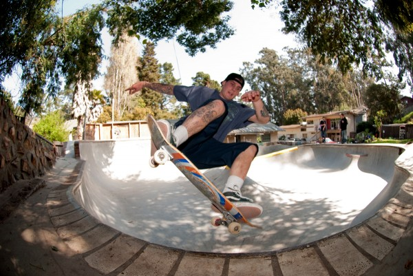 Chris Welty. Frontside disaster in the corner.  Photo: Colin Walsh