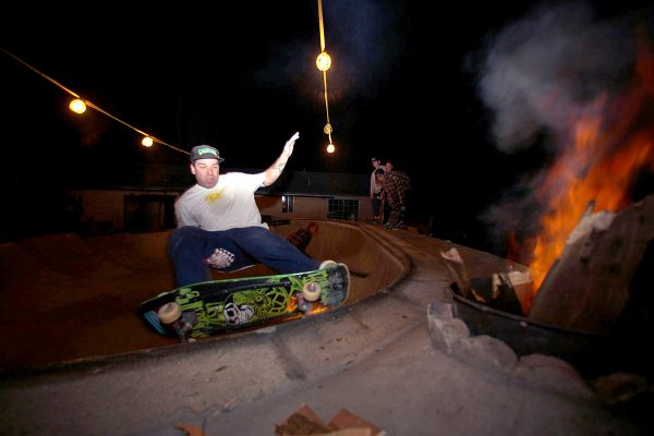 Dave Friel. Frontside grind of the blazing deathbox.