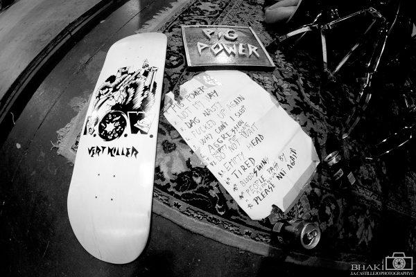 R.O.W. Skateboards, hand made Pig Power sign and Pigpower set list.