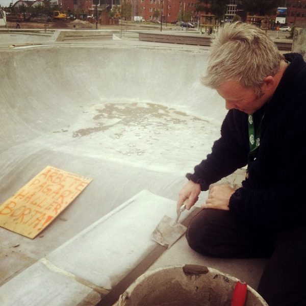 J Mag putting the finishing touches to the fresh crop of pool coping at Stappel.  Photo: Phil Evans