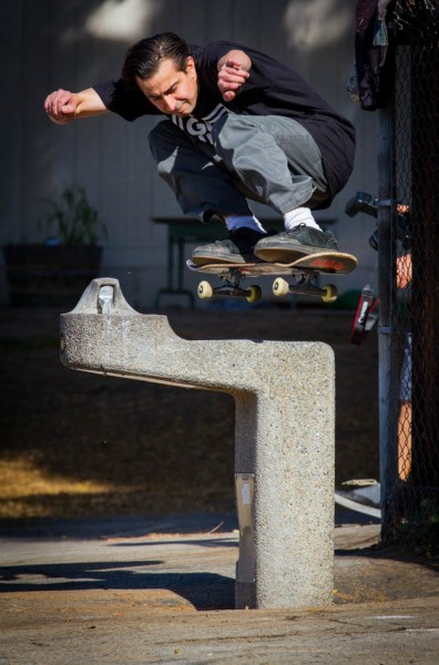 Frankie Hill - Ollie over the water fountain.  Photo: Jon Steele