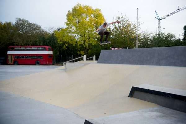 Rohan turning on his street game with an ollie from the deck of the big bowl into the street course bank.