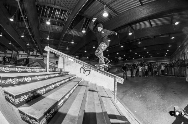 Jacopo Carozzi. Backward nosegrind back to normal or 180 switch five-0