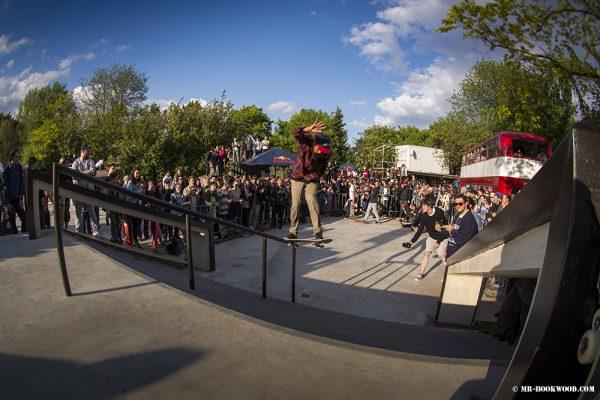 Paco Elles  (kickflip to backside tailslide).  Photo: Mr. Bookwood