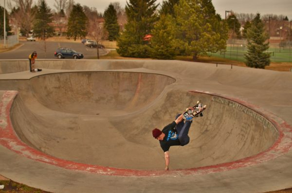 Frontside invert. Edora Skatepark. Fort Collins, Colorado.