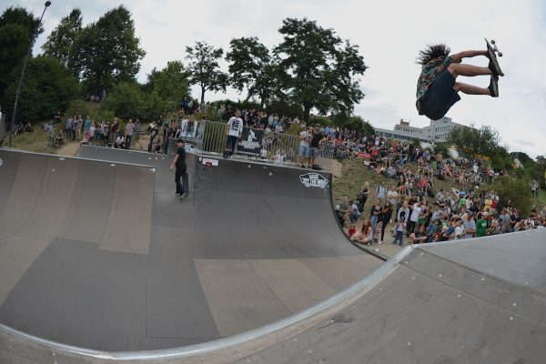 Nick Bax. Blasting out a frontside air from the crowd.