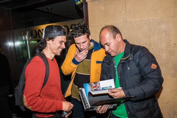 "Fernando Elvira, Lute, and Gorka ""guantez"" stoked on the La Kantera Book release! To many histories... Photo: Jaime Marcos"