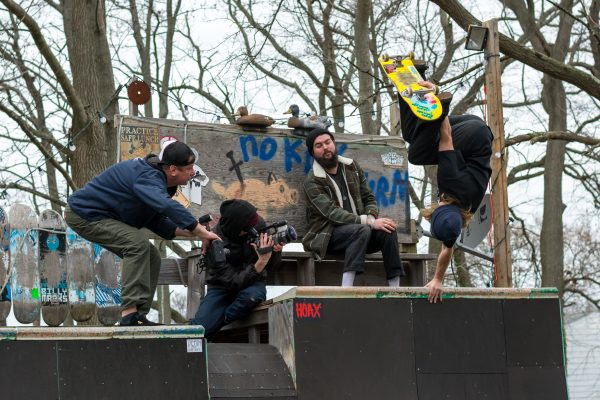 Behind the scenes. Zach Cusano and the film photographers. Photo: Tim Torchia