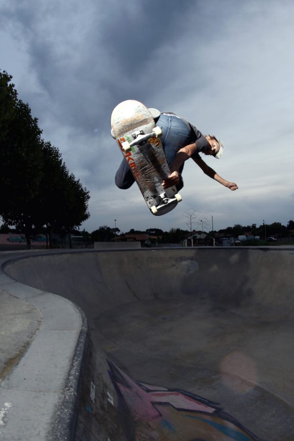 George Poole. Backside air over the hip at Vielle St. Girons.