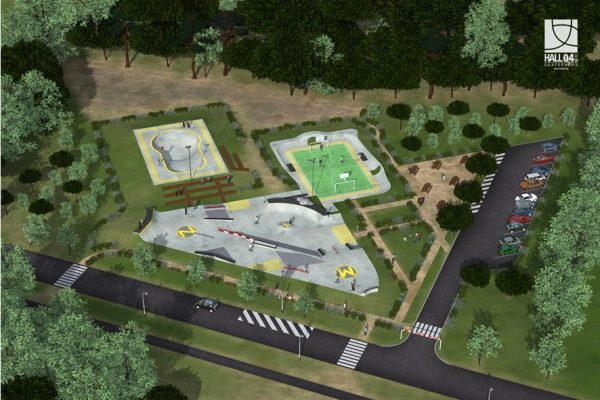 Mimizan skatepark bowl and street course and extra recreation area designed in full by HALL04