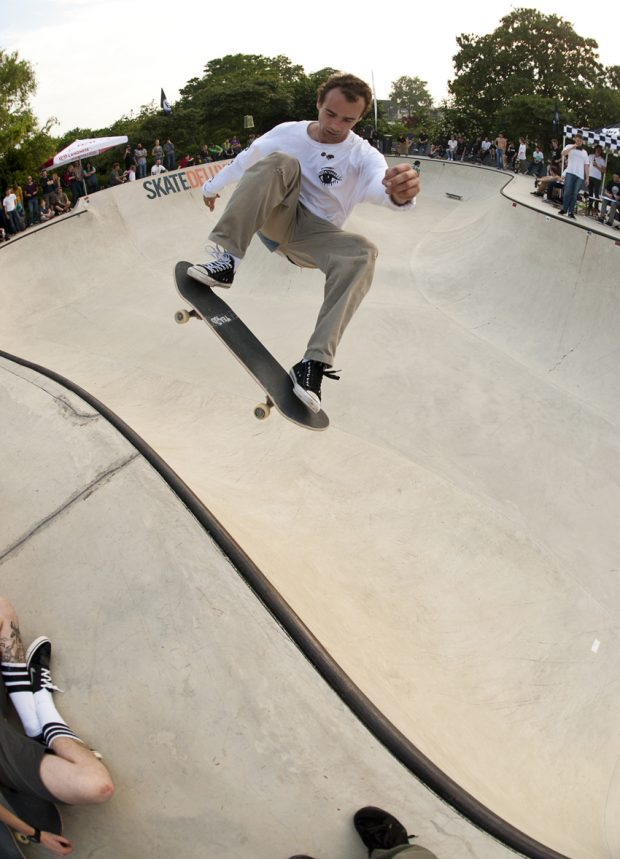 Alex Hallford. Frontside ollie over the hip from the shallow end to the deep. Photo: Jo Hempel