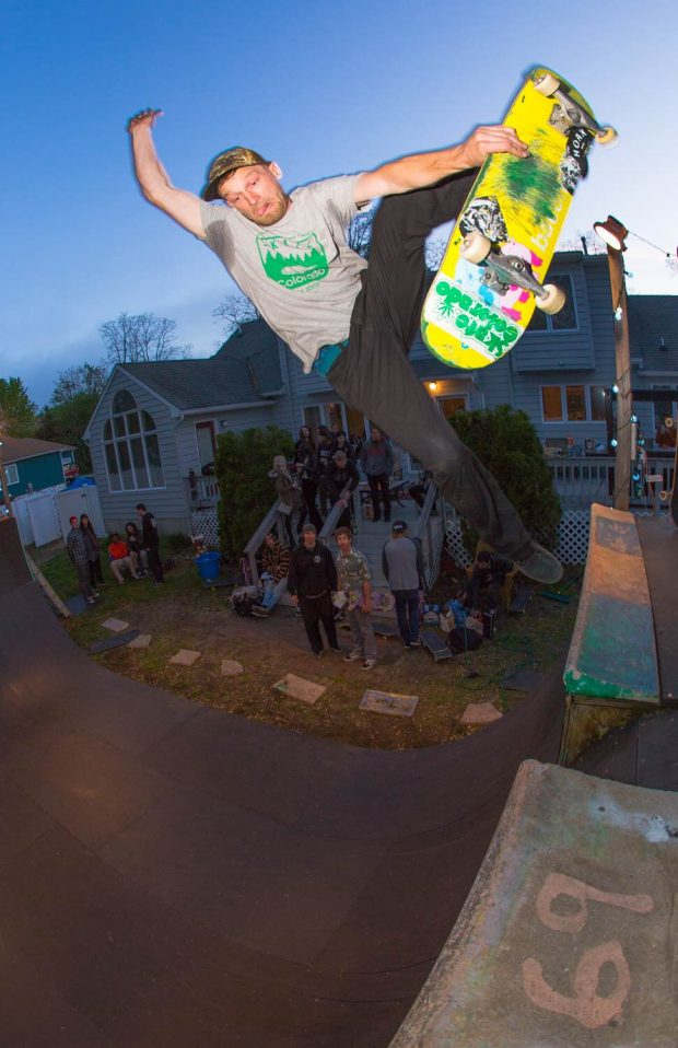 Zach Cusano. Boneless over the channel at his house. Photo: Grant Monahan