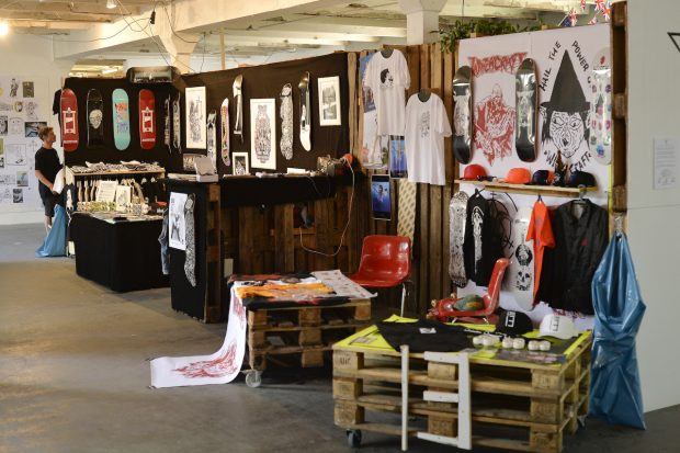 Black Heaven and Witchcraft skateboards booths