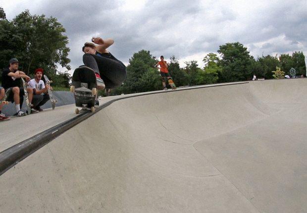 Ari layback grind at the NorthBrigade's Rat Bowl.