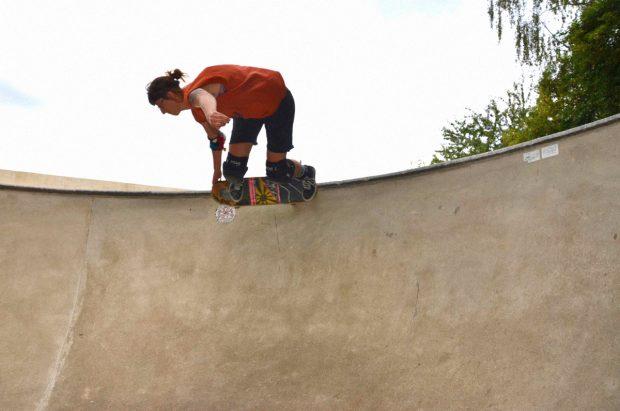 Jana. Backside grind at the Owl Bowl.