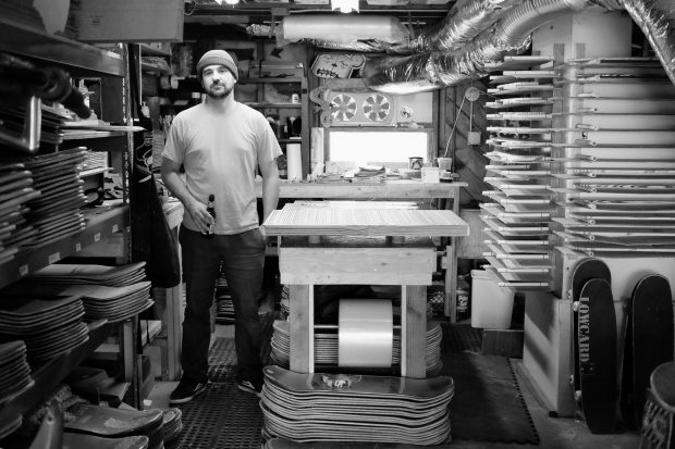 George Rocha in his workshop - peep www.irisskateboards.com to see the killer boards he creates