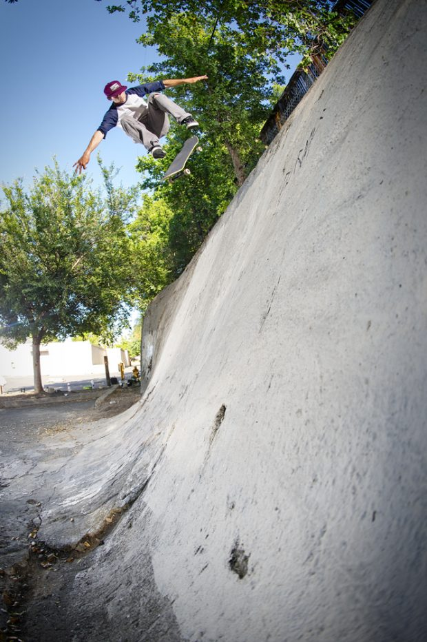 While on the search for animal chin, Kerry did a nollie big spin. Heavy duty maneuver for this beast of a wall!