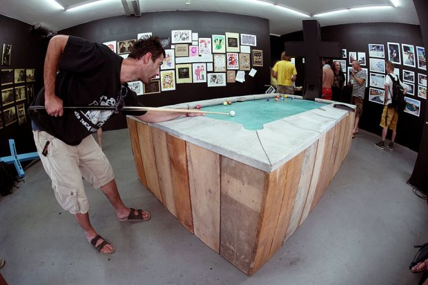 Pudi's Pool coping pool table with Black Cross replica. Photo: Piper