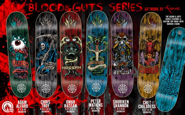 """Ferdz Valencia's """"Blood and Guts"""" series for Black Label skateboards"""