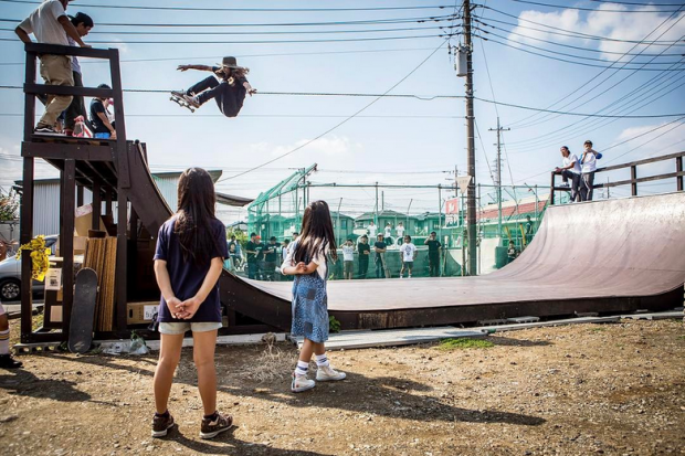 Inspiration knows no boundaries. While in Japan, Cody Lockwood shares his influence and skill with the next generation. Speed Shop FUST's shop ramp. Photo: Bryce Kanights