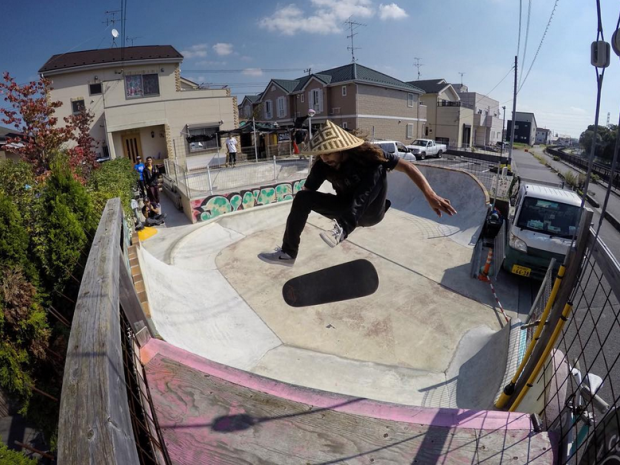 Cody Lockwood frontside kickflips above a front yard turned into a skatepark near Tokyo, Japan. Photo: Bryce Kanights