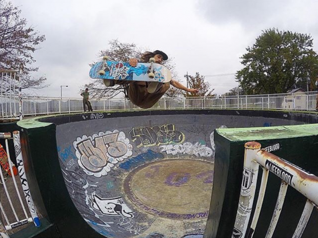 Kevin Kowalski tests the channel crossing at Annaka's historic skatepark. Photo: Bryce Kanights