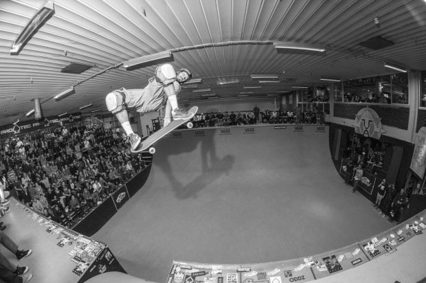 Bucky Lasek. Frontside method over the channel.