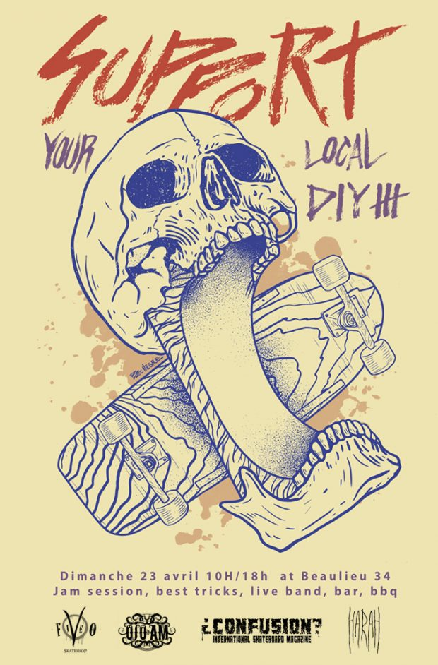SUPPORT YOUR LOCAL DIY III. Artwork by Bec Negre.