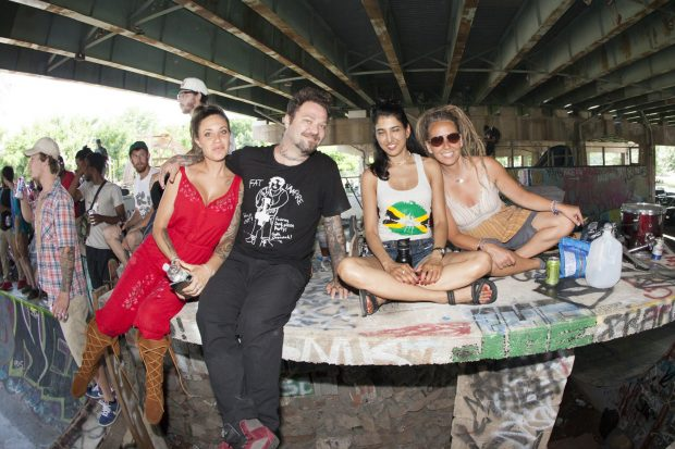 Bam and Nikki Margera and friends.