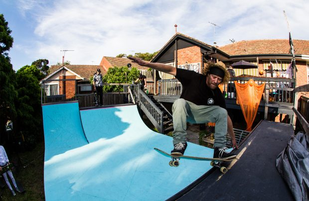 Adam Lineham skated for hours and stayed until last drinks, layback.  Photo: Joshua Feggans
