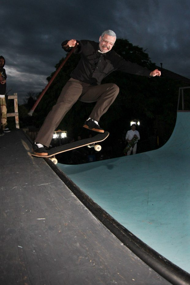 Rob Wiltshire needs a stick these days. 5-0 to tailslide. Photo: Duncan Ewington