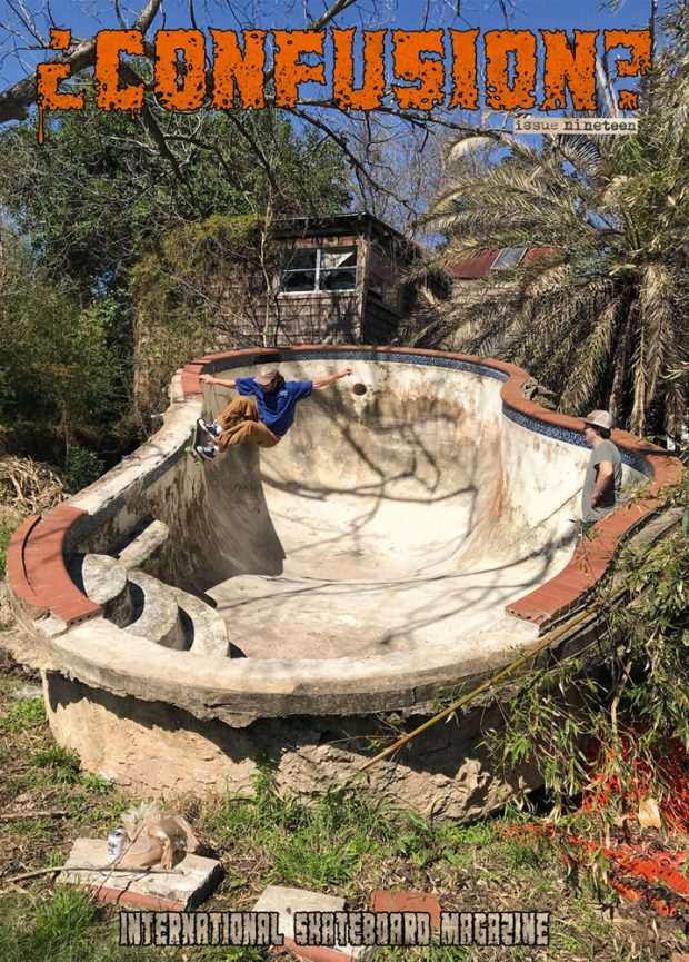 Adam Wiggins, frontside grinding a pool in Texas torn out by Hurricane Harvey .  Photo: Michael Niemann